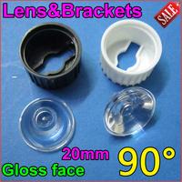30set/lot Free Shipping led glossy len High Power LED Optical Lens holder Bracket Holder 90Degree for1W3W LEDs Condensing glass