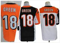 Cheap Free Shipping Men's Elite American Football Jerseys Cincinnati # 18 A.J. Green Stitched Black Yellow White Jersey