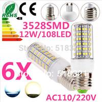 Free shipping 6X 3528SMD 108LED 12W E27 E14 B22 G9 GU10 110V/220V Corn Bulb Light LED Lamp LED Warm/Cool White Glass Cover