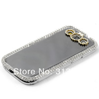 YKFree shipping 2X Ultra-thin Luxury Transparent Shell Diamond Frame For Samsung S2 i9300  CM884