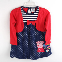 2014 spring new peppa pig clothes set baby girl's dress red dot dress, 100% cotton children clothing for kids, free shipping