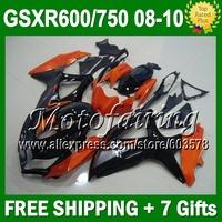 7giftsForK8 08 09 10 SUZUKI HOT  Orange black GSXR750 GSXR 600 750 Kit JM4A47 GSXR600 K8 2008 2009 2010 HOT Orange R750 Fairing