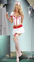 Free Shipping Fashion Women New Cosplay Short Sleeves 3 Pcs Elegant Nurse Halloween Outfit Short Girl Dress Sexy Nurse Costume