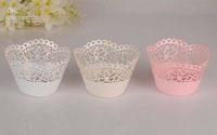 Wholesale - Laser cutting lovely ivory wedding flower butterly Cupcake wrappers 60pcs WBHD 017