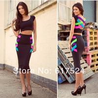 2014 plus size women clothing sexy short sleeve 2pcs dress party evening elegant multi Fashion Bodycon bandage celebrity dresses