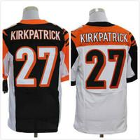 Cheap Free Shipping Men's Elite American Football Jerseys Cincinnati # 27 Dre Kirkpatrick Stitched Black Yellow White Jersey