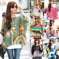 New 2015 Summer Fashion Casual Women Chiffon Bohemia Print Loose Batwing Sleeve Tops Blouses Shirts, 19 Design, XL