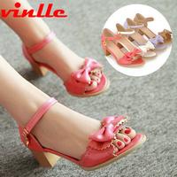 VINLLE 2014 Fashion Open Toe Sandals For Women Casaul Dress Sweet Bowtie shoes for women pumps casual sandals size  34-42