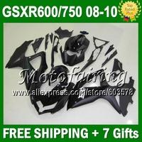 7gifts R750 Flat gloss black For SUZUKI K8 08 09 10 HOT  GSXR750 JM4A40 Body ALL BLKGSXR 600 750 GSXR600 2008 2009 2010 Fairing
