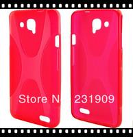 For Alcatel OT-6034R Cover,Flexible X Line Style Slim Back TPU Soft  Skin Cover Case For Alcatel Idol S OT-6034Y,Free Shipping