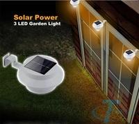 Solar Power Panel 3 LED Fence Gutter Light Garden Wall light lampara de luz aurinkovalaisin Jardin de luz   solar puutarha valo
