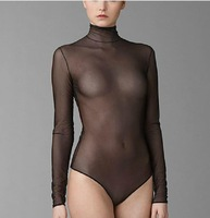 Sexy perspective gauze long-sleeve turtleneck triangle one piece tight underwear