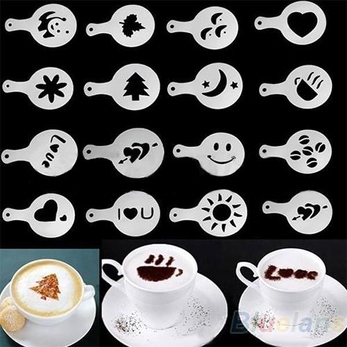 16Pcs/set Fashion Cappuccino Coffee Barista Stencils Template Strew Pad Duster Spray Tools 1O6T(China (Mainland))