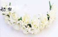 Fashion Artificial paper rose flower headband wedding girl DIY head crown Hawaii headpiece NW04 in free shipping