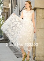 Women's 2014 High Fashion Women Elegant Slim Sexy Gauze Embroidery Flower Lace Beach Wear Long Maxi One-piece Dresses Female