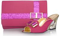 Free shipping high heel women wedges for wedding dress,italian design shoes and matching bags ,fuchsia pink,SB8790