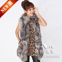 Hot-selling fox fur vest  medium-long vest vest stand collar women's fur vest   Y9P0