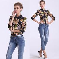 Top Quality!New Europe Summer 2014 Vintage Coin Floral Print Leather Collar Blouse Tops+Denim Jean Capri Pants(1Set) Pant Set