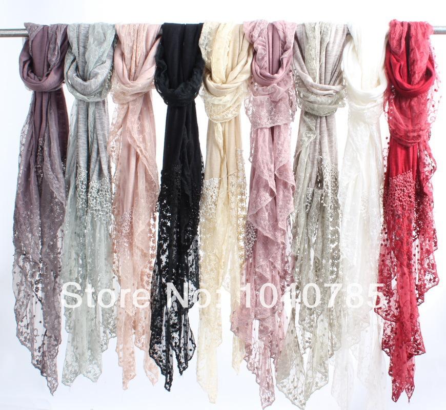 2014 new scarf fashion lace stitching lace scarf