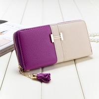 10 Colors New 2014 Genuine Leather Women's Long Design Wallet Zipper Clutch Hasp Tassel Factory Price W033