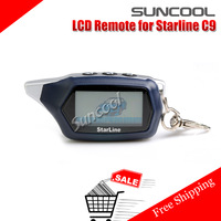 New 2014 Free shipping LCD Remote For Starline C9 Two way car alarm system Russian version electronics for cars +keychain