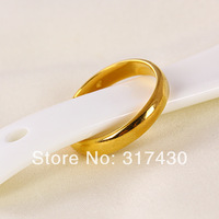 18k yellow gold filled mens or womens ring plain smooth 4mm width rings