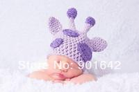 Retail Hand Knit Baby Girl Lavender Giraffe Beanie,Infant Girl Animal Hat Newborn To Toddler Size Baby Shower Gift