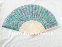 (100 pcs/lot) Handmade 8'' Bamboo with Fabric Flower Patterns Women's Hand Fans