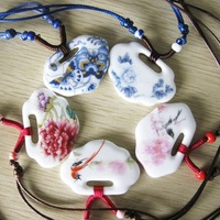 CHINA Jingdezhen ceramic necklace blue and white porcelain accessories ceramic accessories peones necklace FREE SHIPPING