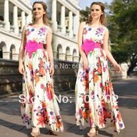 NEW 2014 Spring Summer Women Fashion Elegant Flower Printed Sleeveless Maxi Long Evening Dress Female Sweet Beach Wear +Belt