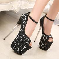 2014 19cm high-heeled shoes rhinestone thin heels princess t sexy stunning open toe single shoes