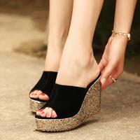 2014 princess wedges sandals glossy women's platform shoes ultra high heels open toe cutout female sandals