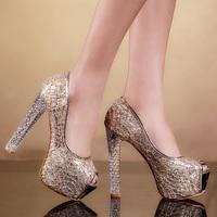 2014 women's shoes open toe high-heeled shoes thick heel single shoes ultra high heels platform sandals princess