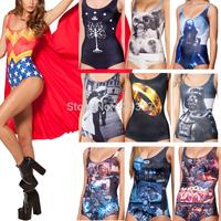 spring 2014 Bikini S Bodysuit SUPERMAN CAPE SUIT WONDER WOMAN CAPE SUIT I AM THE BATMAN SWIMSUIT Digital Printing Swimwear Women