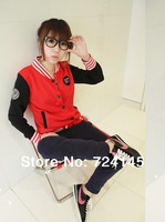 Princess 20114 women's casual fashion preppy style stand collar short baseball jacket uniform lovers clothes size S M L XL XXL