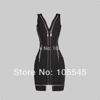 2014 New Fashion Luxury sleevless black bodycon special brand Bandage Evening Celebrity Dress