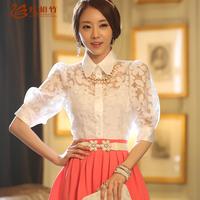 2014 summer women's lace half -sleeve basic shirt chiffon shirt shirt female
