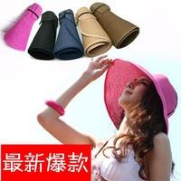 2014 Summer Fashion Women Wide Brim Roll Up Empty Top Sun Straw Beach Hat Visors Cap Adjustable Foldable 9 Colors 5pcs/lot