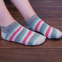 Platinum sock slippers female 100% cotton loop pile socks loop pile sports socks towel socks multicolour stripe