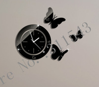 Butterflies creative wall clock  luxury mirror wall watches decor,3d crystal mirror clocks on the child room wall JC25