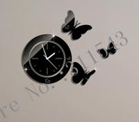 Butterflies creative wall clock  luxury mirror wall watches decor,3d crystal mirror clocks on the child room wall JC25