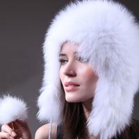CPA Free Shipping, 100%Real Fox Fur Cap,Fox Fur Knitted On Wool Cap, Fox Fur Hat Cover Ears, Natural Fur* SU-14014