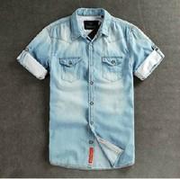 Soda soda scotch short-sleeve shirt slim male summer denim shirt