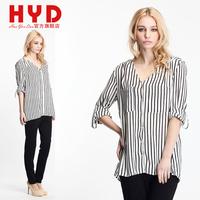 2014 haoyouduo Fashion Black and white stripe V-neck  three quarter sleeve women's summer shirt