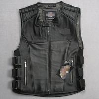 Men's clothing genuine cow leather vest leather motorcycle vest suit genuine leather vest