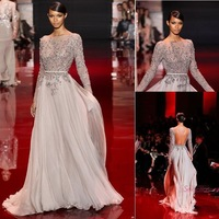 2014 Zuhair Murad Evening Dresses See Through Backless Chiffon Evening Dresses Long Sleeve Formal Party Prom Gowns