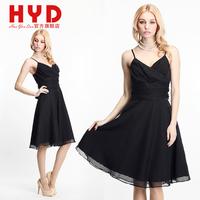 2014 Brand New haoyouduo V-neck slim waist dress black chiffon one-piece dress princess dress