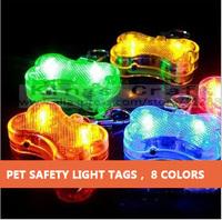 Pet Dog Safety LED Collar Pendant Tags , Bone Flashing Blinking Glow Light Free Shipping