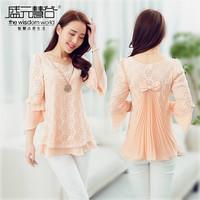2014 Fahison Female chiffon Lace  Shirts Woman's Three quarter sleeve medium-long Blouses Sweet Bowknot on back women basic Coat
