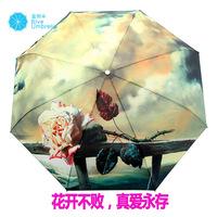 Free shipping oil painting umbrella automatic folding umbrella sun umbrella anti-uv sun protection umbrella